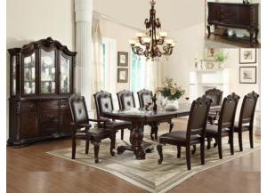 KIERA FORMAL DINETTE TABLE WITH 4 SIDE CHAIRS AND 2 ARM CHAIRS,Crown Mark