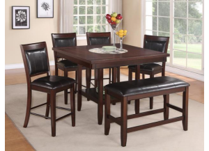 Fulton Counter Table with 4 Counter Chairs and a Counter Bench,Crown Mark
