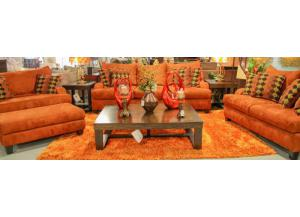 4PC COPPER SOFA, LOVE, CHAIR AND OTTOMAN