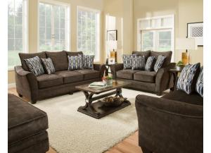 ATHENA BROWN SOFA AND LOVESEAT