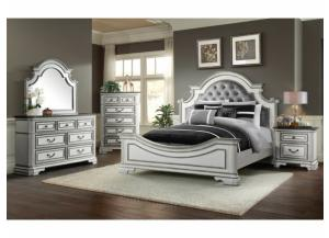 LEIGHTON MANOR ANTIQUE WHITE QUEEN BED, DRESSER, MIRROR, AND NIGHTSTAND.