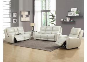 LAUREL PWR/HEADREST  TOP GRAIN SOFA AND LOVESEAT (IVORY)